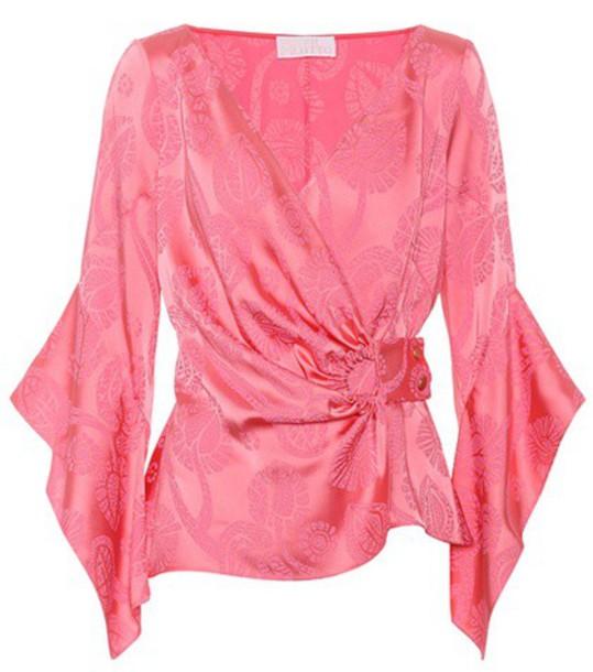 top wrap top jacquard pink