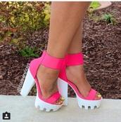 shoes,pink - lug sole heels,pink shoes,lug sole,heels,platform shoes