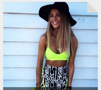 shorts black white lime neon tank top blouse skirt