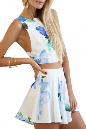 dress two-piece floral girly crop tops fashion vibe style trendy summer spring beautifulhalo