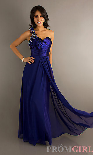 One Shoulder Prom Gown, Long One Shoulder Prom Dresses- PromGirl