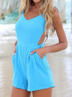 Blue cami playsuit romper with strappy back