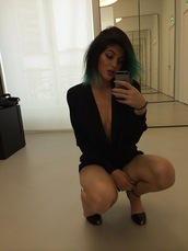 jacket,kylie jenner,instagram,blazer,iphone,blue hair,shoes,black,flat sandals,romper,jumpsuit,navy,playsit