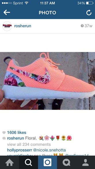 shoes nike roshe run floral