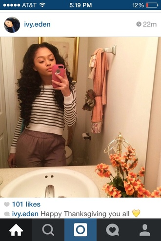 sweater stripes long sleeves cute cropped sweater ivy.eden sweater croptop thanksgiving bathroom pictures