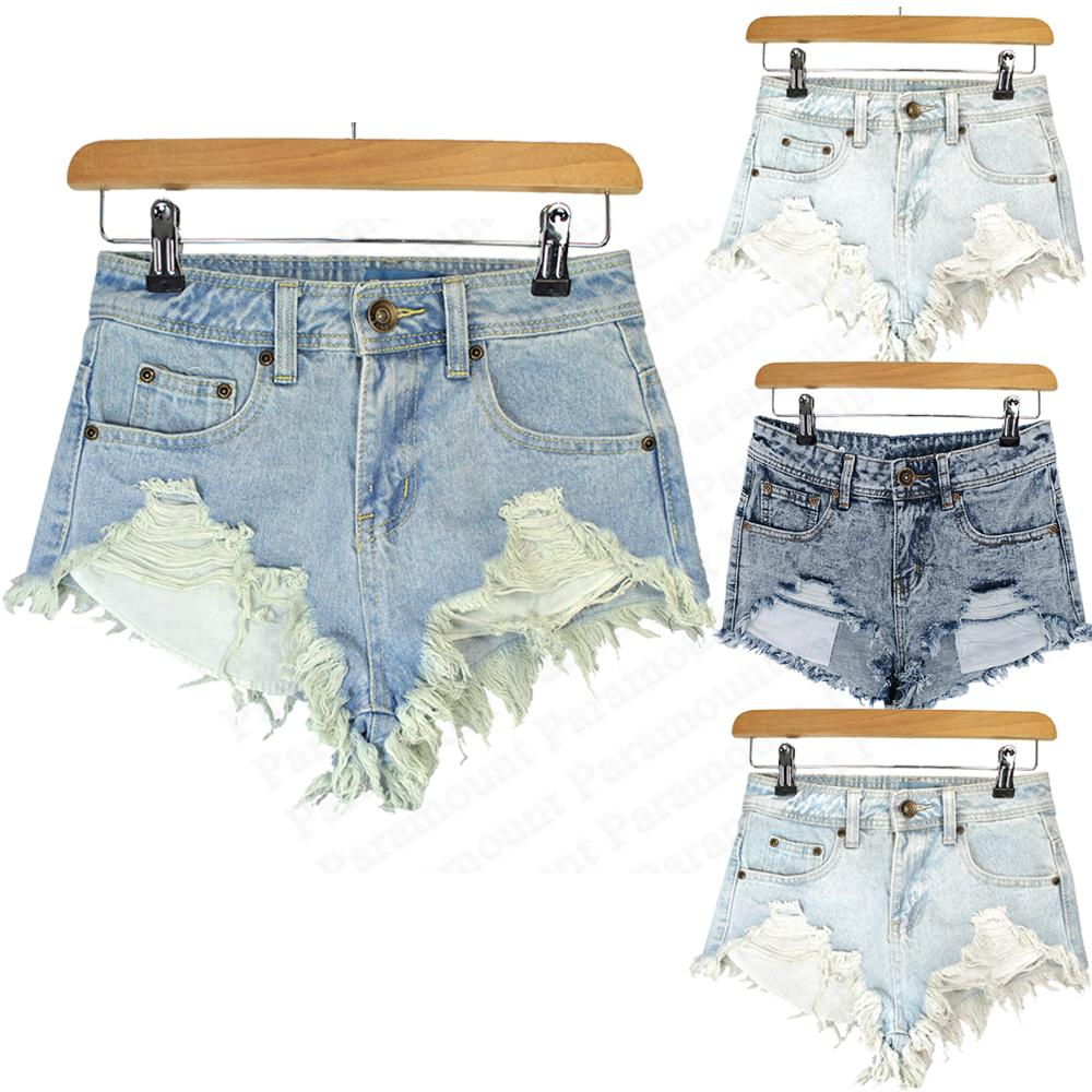 Distressed Ripped Raw Edge Denim Blue Light Wash Womens High Cut Hot Pant Shorts | eBay