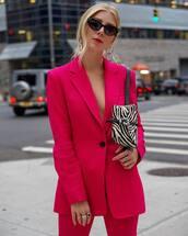jacket,blazer,pants,wide-leg pants,cat eye,hand jewelry,earrings,belt bag,zebra print