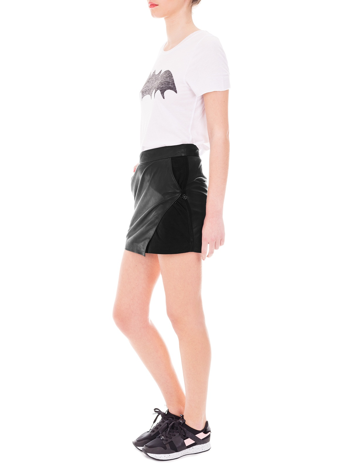 Maison Scotch | Black Leather Mini Envelope Skirt | GIRISSIMA.COM