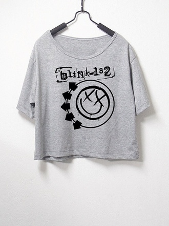 shirt blink-182 blink 182 band t-shirt rock band 90s style crop tops black crop top grey cute ootd needed vans warped tour