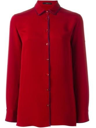 shirt women silk red top