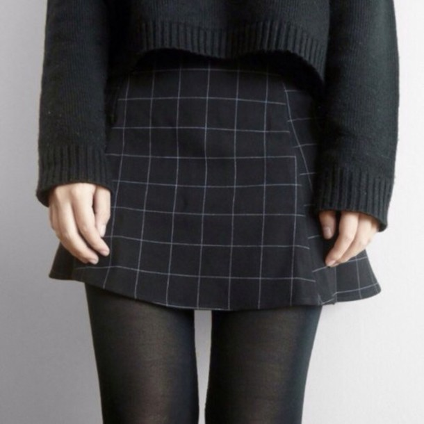 Skirt: sweater, short, grunge, goth, nu goth, black, checkered ...