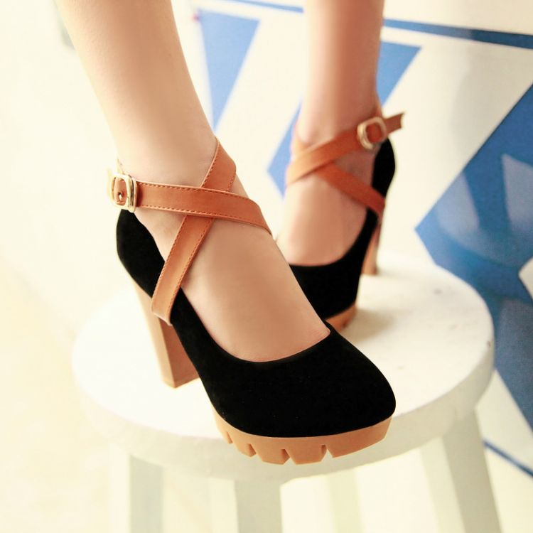 Womens Fashion Faux Suede Crossover Ankle Strap Block heeled Pumps Court Shoes | eBay