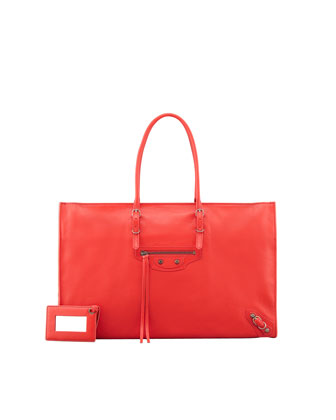 Balenciaga Papier Office Zip Leather Tote Bag, Rouge - Neiman Marcus