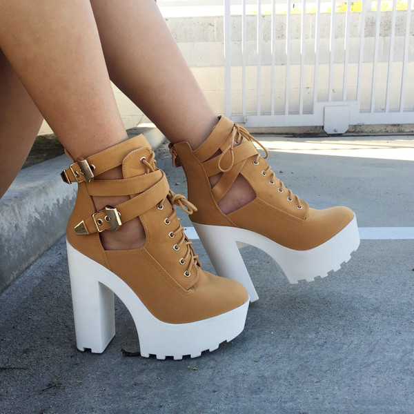 98d738ea37c Camel Faux Nubuck Lace Up Lug Sole Booties @ Cicihot. Booties spell ...