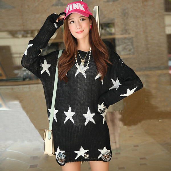 Star Distressed Sweater   Outfit Made