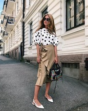 top,polka dots top,shirt,skirt,sandals,black sandals,bag