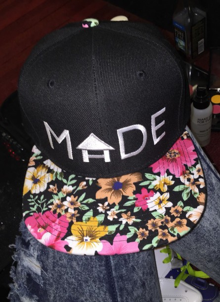 hat floral black snapback cap