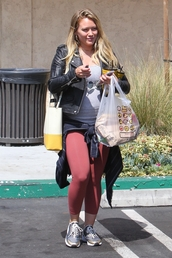 leggings,hilary duff,shoes,sneakers,jacket,top,bag,summer,summer outfits
