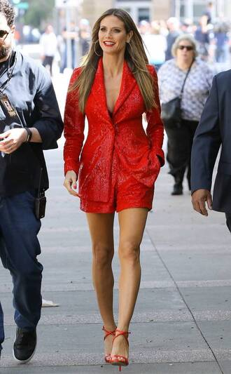 shorts blazer sandals red monochrome monochrome outfit heidi klum spring outfits sequins shoes