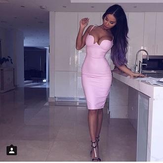 dress pink kardashians leather faux