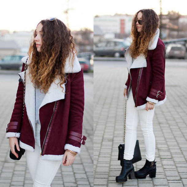 coat jacket burgundy biker jacket