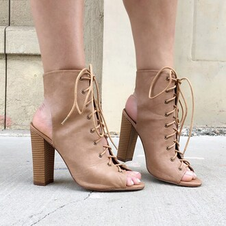 shoes booties tan booties cut-out booties boots tan camel camel shoes nude gojane