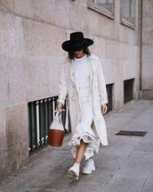 bag,handbag,basket bag,white sneakers,wrap ruffle skirt,stripes,white t-shirt,coat,trench coat,hat,sunglasses