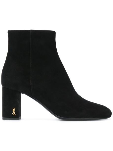 Saint Laurent women boots ankle boots leather suede black shoes