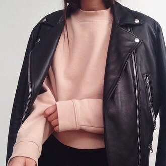 sweater acne studios dusty pink leather jacket pink sweater black leather jacket perfecto