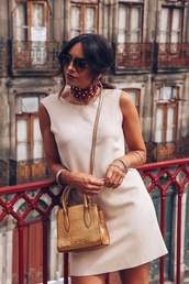 bag,golden bag,dress,short dress,scarf,sunglasses