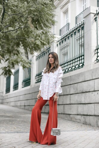 pants tumblr red pants flare pants shirt white shirt polka dots ruffle ruffle shirt bag