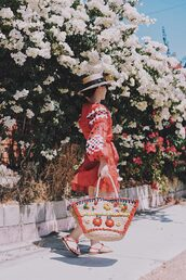 dress,tumblr,red dress,mini dress,embroidered dress,long sleeves,long sleeve dress,sandals,flat sandals,bag,woven bag,shoes