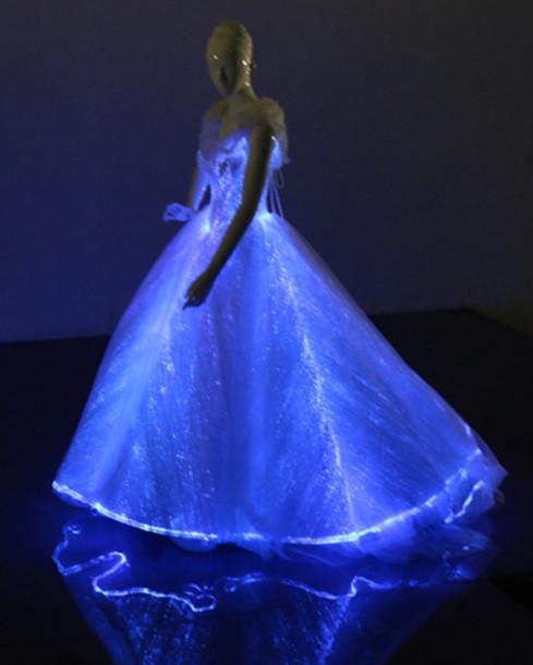 dress wedding neon light up disney princess luminous cinderella dress