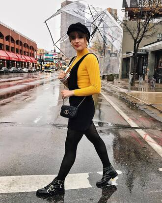 top tumblr yellow yellow top turtleneck skirt black skirt mini skirt tights opaque tights boots black boots flat boots hat umbrella