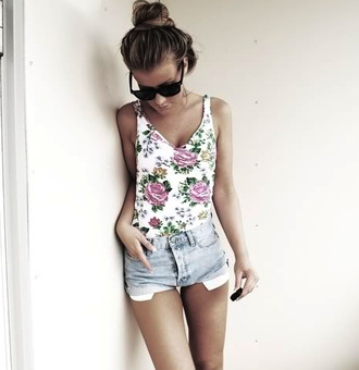 shirt found on pintrest tank top floral flowers summer v neck hipster girly boho cute teenagers tumblr pintrest top floral pattern bright summer outfits