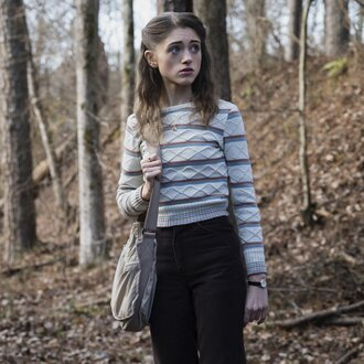 sweater stranger things stripes striped sweater pants black pants bag grey bag fall outfits tv show natalia dyer