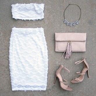 top crop tops bandeau bralette bra skirt lace mermaid white white crop tops white skirt white outfit nude heels nude clutch necklace ootn gojane