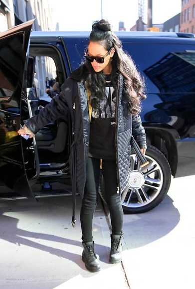 coat puffy black rihanna