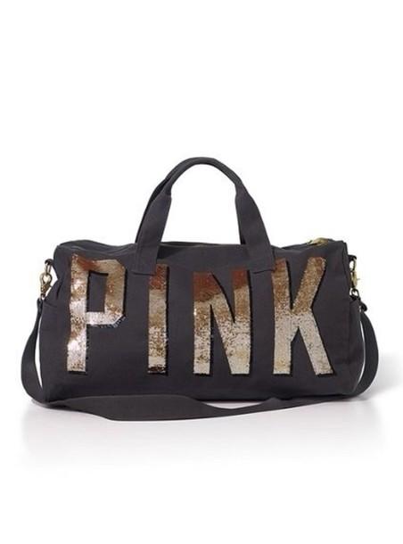 bag pink victoria's secret duffle sparkle