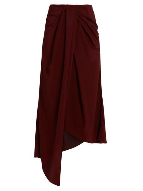 skirt silk satin burgundy
