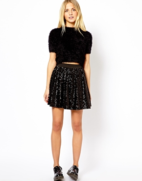 Look | New Look Sequin Skater Skirt at ASOS