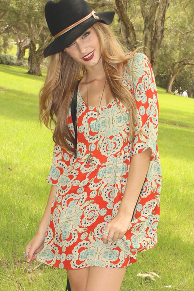 print dress dress ethnic print printed clothes red dress floral clothing foxx foe