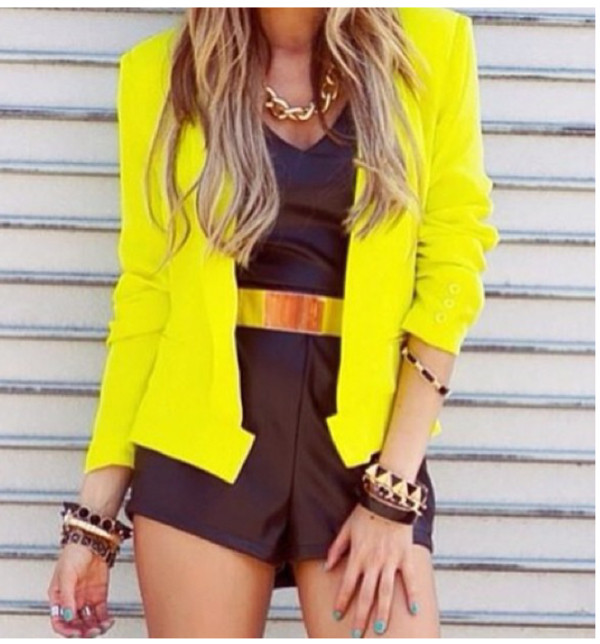 M Fashion Women OL Casual Yellow Short Suit Jacket Blazer Ruched ...