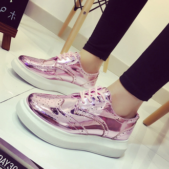 shoes pink metallic sneakers fashion style trendy boogzel derbies brogue shoes pink shoes
