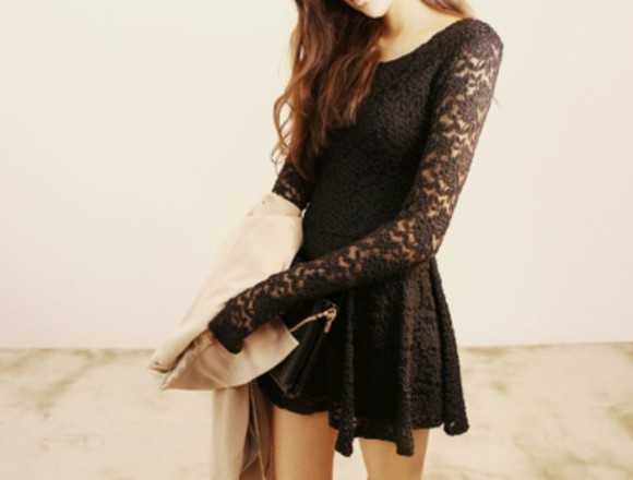 cute long sleeve girly black dress little black dress lace dress hollywood loveit needit black lace dress formal dresses long hair brown hair find quick pleaseeee long sleeve dress long sleeved dress cute dress adorable black, skirt, need, want, help, please, high waisted