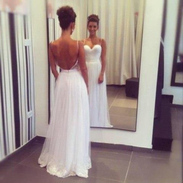 Simple Wedding Dresses Open Back: Dress: Prom, Backless, Gown, Long Gown, White, Backless