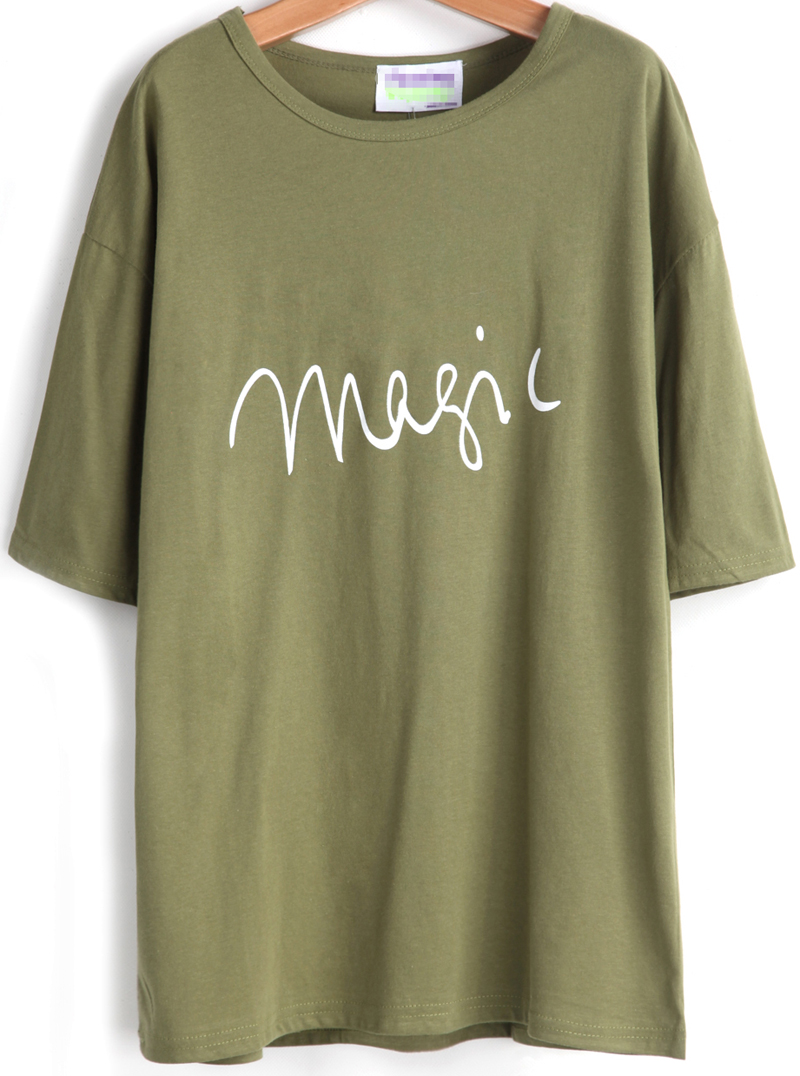 Green Short Sleeve magic Print Loose T-Shirt - Sheinside.com