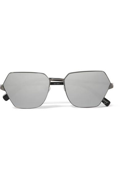 Elizabeth and James - Henly hexagon-frame gunmetal-tone mirrored sunglasses