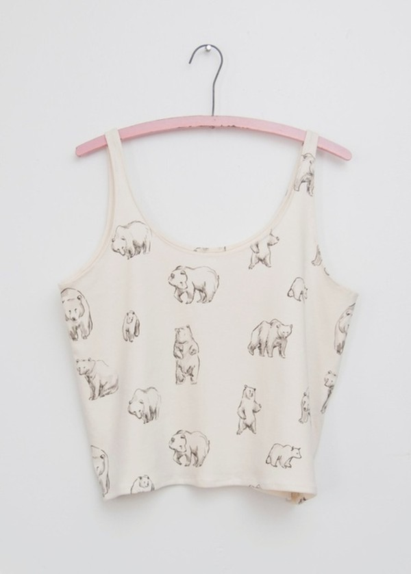shirt white crop tops tank top bear best coast hippie tribal pattern hipster cute tumblr tumblr soft grunge bear tank top top white tank top crop tops summer winter outfits bieber polar bear teddy bear white crop tops crop vans pale crop tops bear shirt