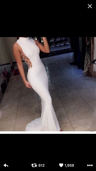 dress white high neck prom dress white long dress white prom dress prom dress